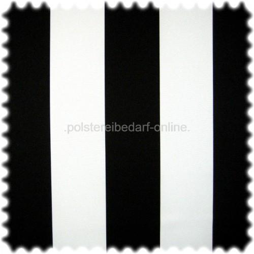 UV Beständiger Outdoor & Boot Möbelstoff MIAMI mit breiten Streifen schwarz / weiss