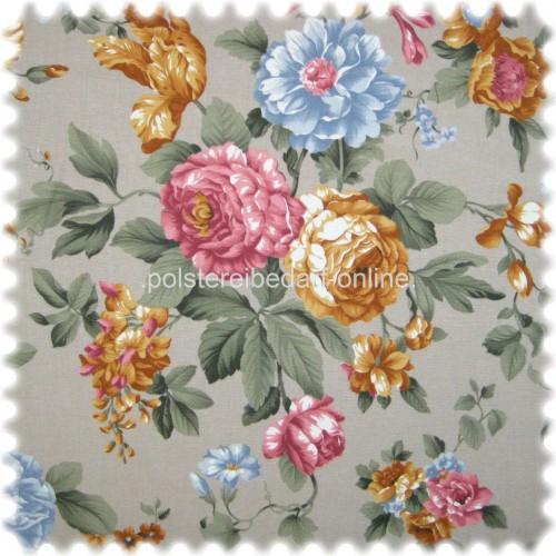 Möbelstoff Flora Eden Rose Hellgrau in Englisch Leinen Optik