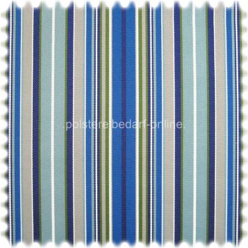 UV Beständiger Outdoor & Boot Möbelstoff Solar Stripe Signalblau mit Sanitized®Ausrüstung