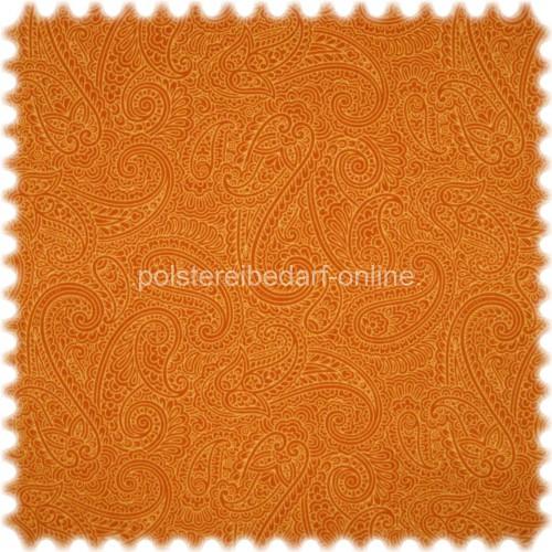 Möbelstoff mit CRYPTON® Nässeschutz mit klassischem Paisley Muster Orange / Gelb